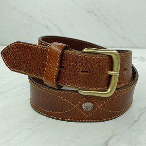 Zippo Vintage Italian Pebble Brown Leather Belt